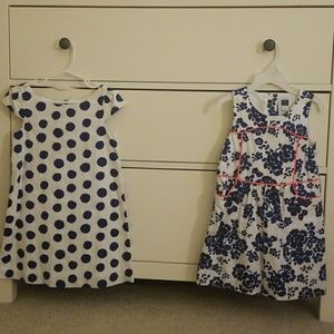 2pcs Janie and Jack Dresses Size 4 Dots Floral